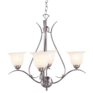 Bel Air Lighting Stewart 4 Light Brushed Nickel CFL Ceiling Chandelier PL 9280 BN