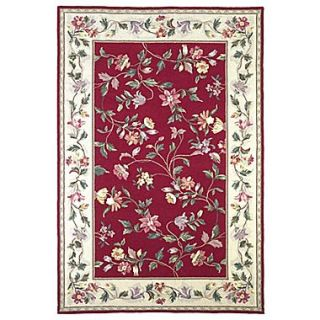 KAS Rugs Colonial Crimson / Ivory Floral Area Rug; Round 76