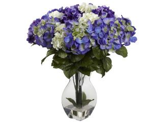 Nearly Natural Mixed Hydrangea With Vase In Blue Purple