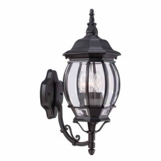 Hampton Bay 3 Light Black Outdoor Wall Lantern HB7028 05