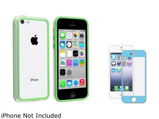 Insten Clear/Green TPU Rubber Bumper with Blue Color Frame Screen Protector Compatible with Apple iPhone 5C 1475719
