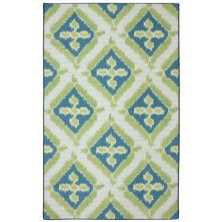 Mohawk Home Summer Splash Blue Rectangular Outdoor Tufted Area Rug (Common 8 x 10; Actual 96 in W x 120 in L x 0.5 ft Dia)