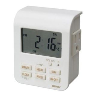 Woods 7 Day Digital Indoor Heavy Duty Timer with 2 Outlets 3 Conductor   White 50009