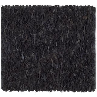 Safavieh Handmade Leather Shag Black Leather Rug (4 Square)