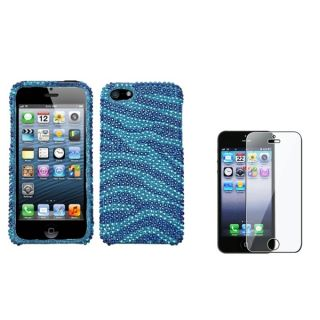 INSTEN Baby Blue Zebra Phone Case/ Screen Protector for Apple iPhone 5