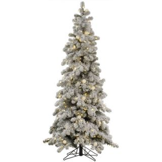 Flocked Kodiak 5 White Spruce Artificial Christmas Tree with 285 LED
