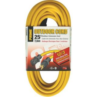 Prime Wire 25 Foot 12/3 SJTW Jobsite Outdoor Extension Cord, Yellow