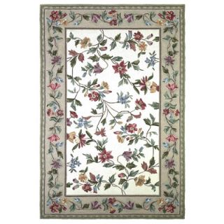 KAS Rugs Colonial Ivory / White Floral Area Rug