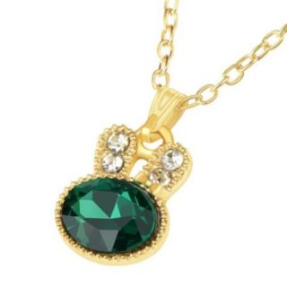 "Zodaca 17.3"" Rabbit Crystal Pendant Rhinestone Clasp Necklace Fashion Jewelery Gift Present   Gold/Green"