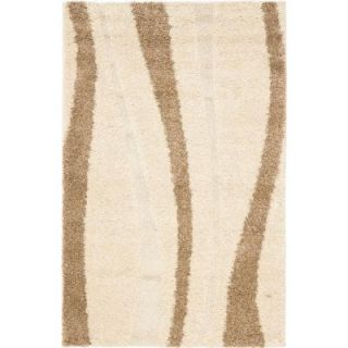 Safavieh Willow Shag Cream/Dark Brown 4 ft. x 6 ft. Area Rug SG451 1128 4