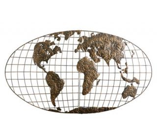 World Map Metal Wall Art —
