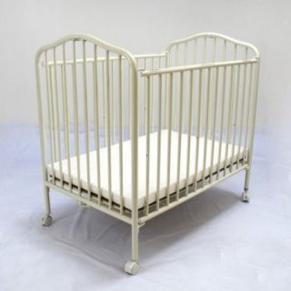L.A. Baby Commercial Compact Folding Metal Crib   Vanilla
