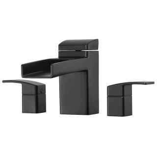 Pfister RT6 5DFB Kenzo Deck Mounted Metal Lever Handles Roman Tub Waterfall Faucet in Matte Black