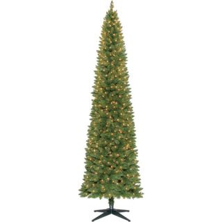 Holiday Time Pre Lit 9' Brinkley Pine Pencil Artificial Christmas Tree, Clear Lights