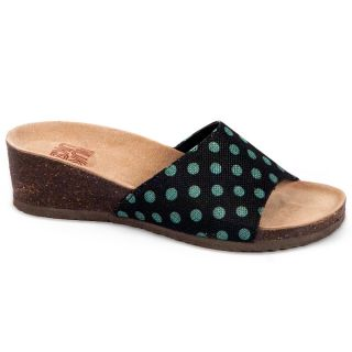 Womens Lea Turquoise Polka Dot Slide Wedge Sandals