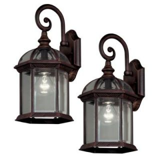 Hampton Bay Wall Mount 1 Light Outdoor Rust Lantern (2 Pack) DISCONTINUED 1000 014 557