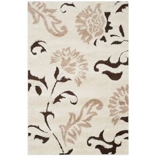 Safavieh Ultimate Cream/ Dark Brown Shag Rug (4 x 6)   13412989