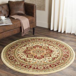 Safavieh Lyndhurst Collection Ivory/ Red Area Rug (53 Round