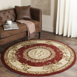 Safavieh Lyndhurst Collection Aubussons Red/ Ivory Rug (5 3 Round