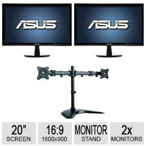 ASUS VS207T P 20 Class 1600x900 LED Monitor and Inland Dual Desk Mount   05342 Bundle