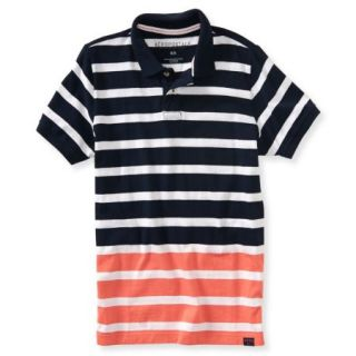 Aeropostale Mens Dual Color Stripe Rugby Polo Shirt