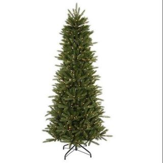 12' Pre Lit Slim Vermont Fir Instant Shape Artificial Christmas Tree   Clear