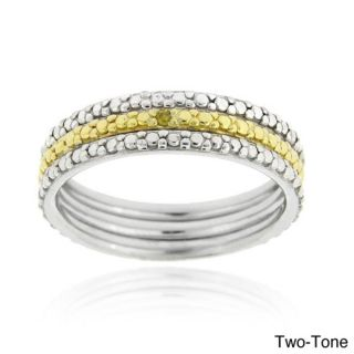 DB Designs Two tone or Tri color Silver Diamond 3 piece Ring Set