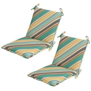 Hampton Bay Redmond Stripe Mid Back Outdoor Dining Chair Cushion (2 Pack) 7410 02238700