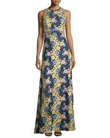 Erin Fetherston Sleeveless Floral Lace Gown, Navy/Multicolor