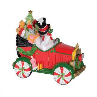 Fitz and Floyd Hand Painted Musical Top Hat Frosty in Car   8211100