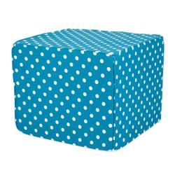 Brooklyn 22 inch Square Turquoise Polka Dot Indoor/Outdoor Ottoman