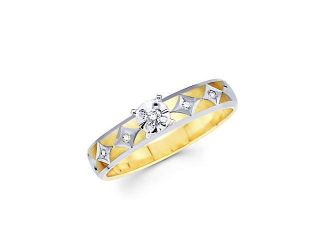 .08ct Diamond 14k Yellow White Two Tone Gold Engagement Ring (H I Color, I1 Clarity)