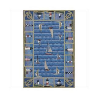KAS Rugs Colonial Blue Light Houses Area Rug