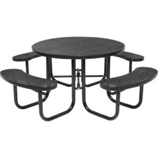 Tradewinds Park 46 in. Brown Commercial Round Picnic Table HD D051GS BR