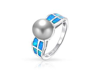 Christmas Gifts 925 Silver Synthetic Blue Opal Simulated Pearl Ring 8mm