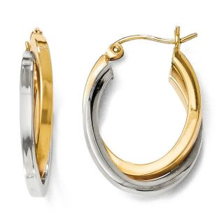 14k Two Tone Gold Polished Oval Hinged Hoop Earrings   18555070