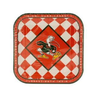 Bulk Buys OF218 72 Miami Hurricanes Lunch Plates Set