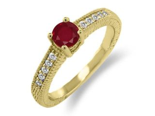0.66 Ct Round Red Ruby White Sapphire 14K Yellow Gold Engagement Ring