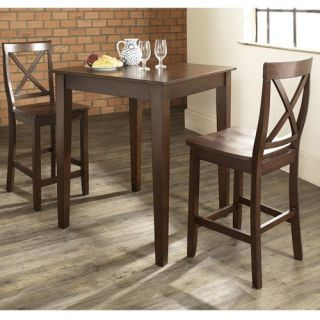 Crosley Furniture KD320005MA 3 Piece Pub Dining Set with Tapered Leg and X Back Stools in Vintage Mahogany Finish