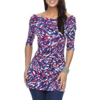 Miss Tina   Womens 3/4 Sleeve Tie Front Tunic