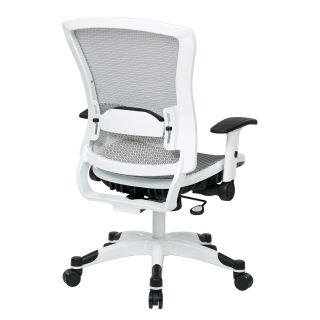 Office Star 317W W11C1F2W White Frame Managers Chair with Padded Mesh Seat and Back Height Adjustable Flip Arms and Coated Nylon Base