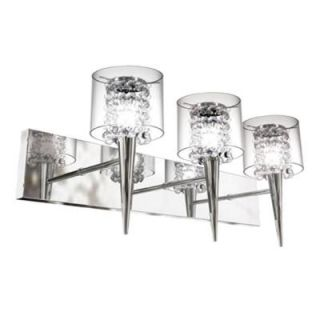 BAZZ Glam Series 3 Light Polished Chrome Wall Fixture with Clear Round Glass and Beads Inserts M3823CB