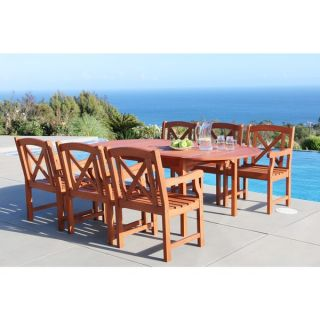Renaissance Eco friendly 7 piece Outdoor Hand scraped Hardwood Dining