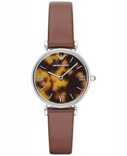 Emporio Armani Womens Brown Leather Strap Watch 32mm AR1873   Watches