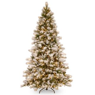 ft. Glittery Bristle Pine Tree with Battery Operated Warm White LED