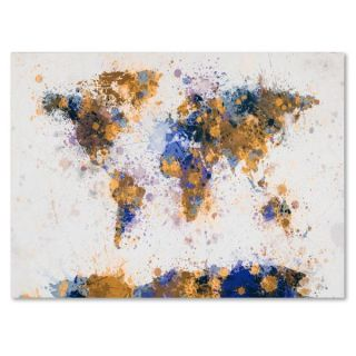 Michael Tompsett Paint Splashes World Map 2 Canvas Art