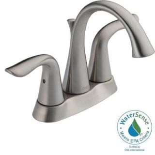 Delta Lahara 4 in. Centerset 2 Handle High Arc Bathroom Faucet in Chrome with Pop Up 2538 TP DST